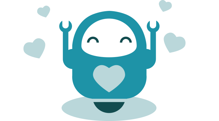Elated robot mascot being showered with hearts