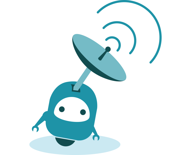 Robot mascot broadcasting notifications